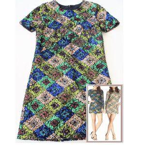 NEW DRESS THE POPULATION PATCHWORK SEQUIN DRESS S